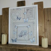 handcrafted white framed aqua and cream butterfly picture