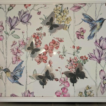 handcrafted white framed floral, hummingbird and silver butterfly picture