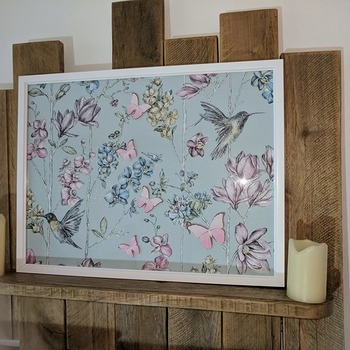 handcrafted white framed floral, hummingbird, aqua and pink butterflies picture