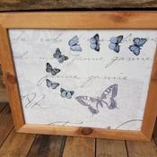 handcrafted wooden framed lilac and silver butterfly picture