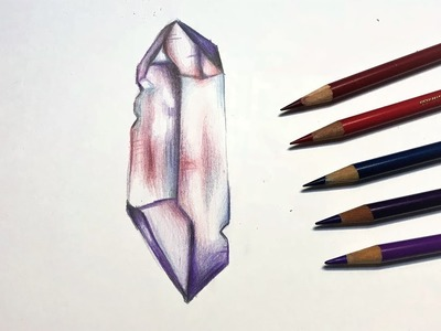 How to draw a crystal! Step by step timelapse tutorial (beginners) - Alpha Art