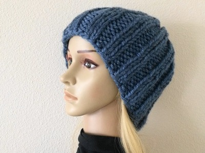 How To Knit A Ribbed Unisex Hat, Lilu's Handmade Corner Video # 235