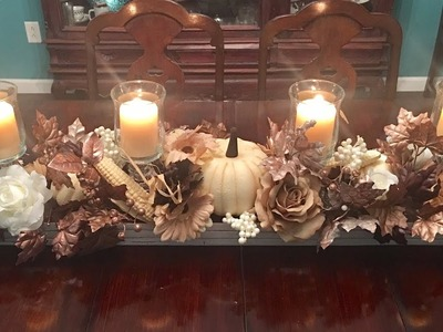 Long slim off white and copper colored fall centerpiece DIY