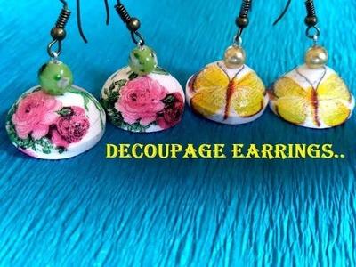 Quilled decoupage jhumka tutorial | How to make beautiful decoupage earrings