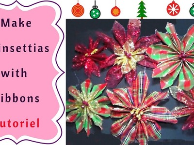 The Easiest Way to make Christmas Poinsettias with Ribbons  Tutorial
