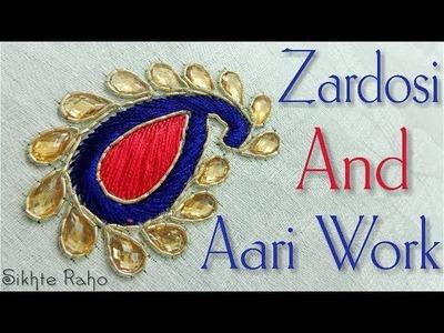 Zardosi and Aari Work Keri design || Zardosi Work || Aari Work || hand embroidery