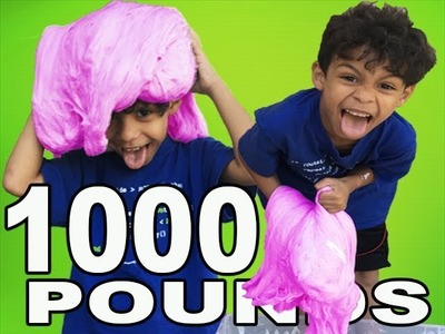 1000 POUNDS OF FLUFFY SLIME! DIY 6 YEAR OLD & 1 YEAR OLD MAKE EASY FLUFFY SLIME
