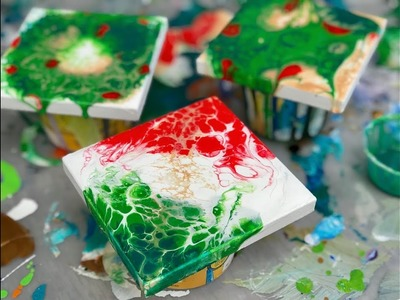 Acrylic Pour Painting: MORE Great Holiday Gift Ideas Tiny Arteza Canvases Christmas Colors