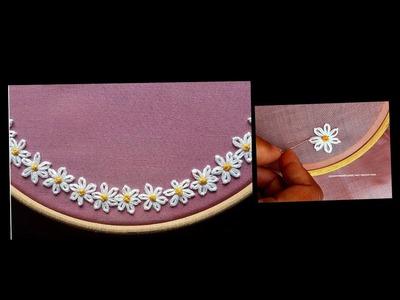 Boat Neck   Hand embroidery stitch on churidar. Kurti - DIY - decorative stitches