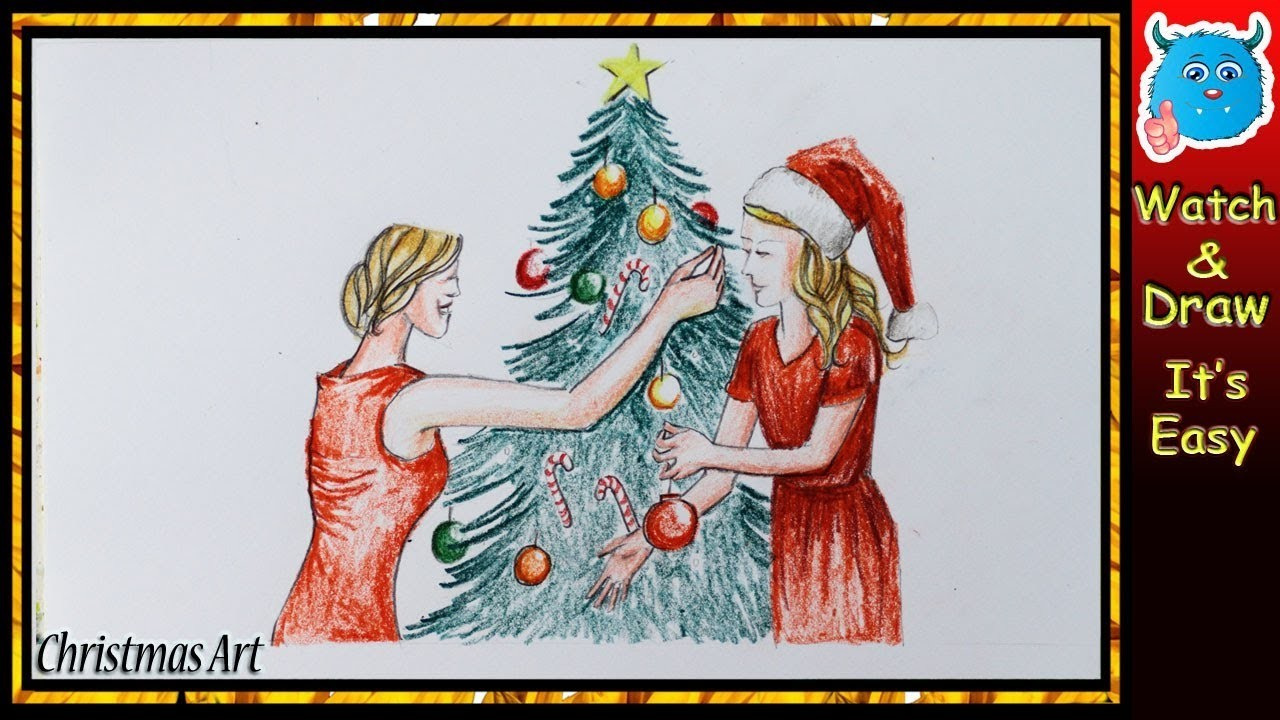 Christmas Celebration Images For Drawing.Christmas Tree Drawing Easy Celebration Idea For Beginners