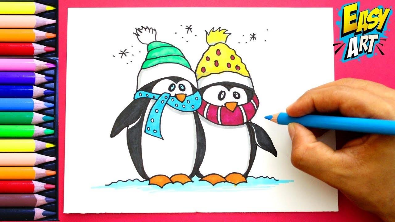 Como Dibujar Pingüino De Navidad How To Draw Christmas Penguins
