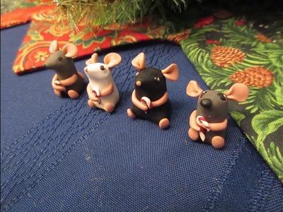 DIY Adorable Clay Mice Holding a Candy Cane