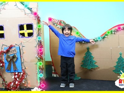 Giant Christmas Box Fort Challenge and Cardboard Sleigh with Ryan