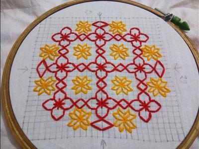 Hand Embroidery new nakshi katha design video tutorial by Nakshi  katha