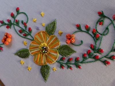 Hand embroidery . Satin stitch flower and Stump work without beads.(thread beads)