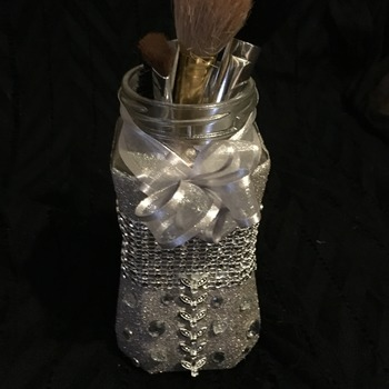 Hand made upcycled glass jar.