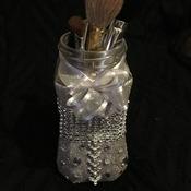 Hand made upcycled glass jar.