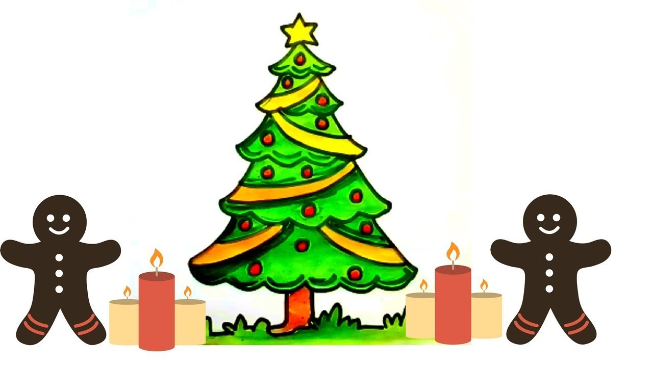 How To Draw A Christmas Tree Easy And Cute Christmas Tree Drawing