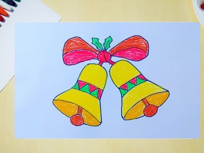 How to Draw Christmas bell | Christmas bell drawing | Drawing of bell for kids color mixing