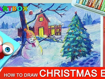How to Draw Christmas Eve scenery with Snowman for Kids