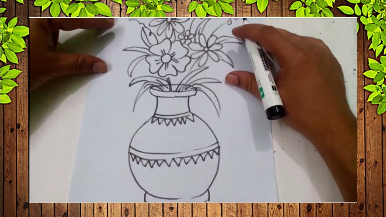 How To Draw Easy Flower Vase For Kids Easy Kids Drawing Tutorial