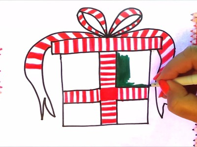 draw how to draw the best christmas present and colouring