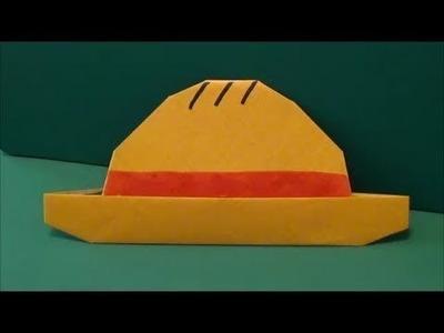 How to make an origami straw hat One Piece | Cách làm mũ rơm của Luffy