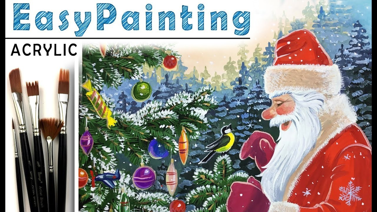 How To Paint Santa Claus Bird Christmas Tree Paint With Acrylic Tutorial For Beginners Easy