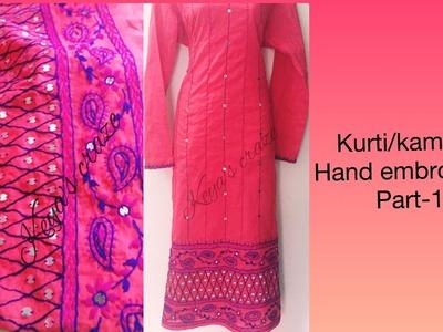 Kurti. kameez hand embroidery | part-1 |Drawing process on fabric | Keya's craze.160