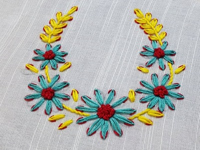 Lazy Daisy Double Colour Thread Flower Stitch|Hand Embroidery by Shehla kanwal