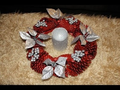 Manualidad Centro De Mesa Con Conos De Pino-DIY Pine Cone Christmas Center Piece Wreath