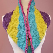 Wonderful lightweight hand knit cowl in bright spring colors.