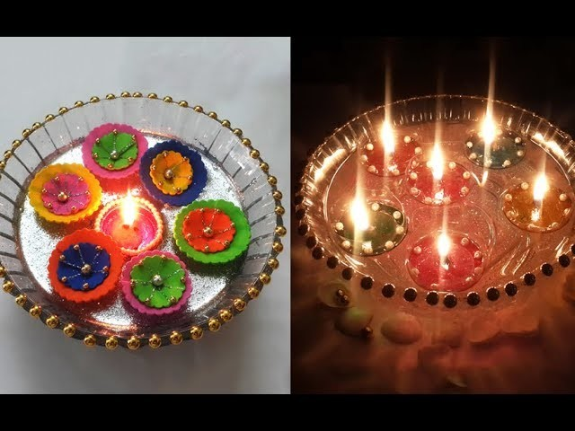 2 Quick Diwali Decoration Ideas | Floating Diya Decoration on Water | Diwali Decoration DIY
