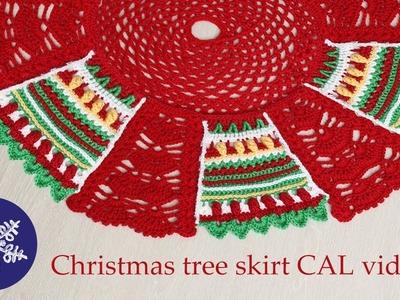 Christmas tree skirt crochet-along video 2