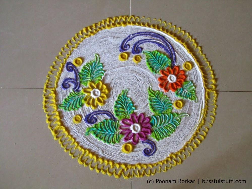 Creative small free hand rangoli | Unique and innovative rangoli design by Poonam Borkar