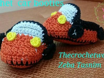 Crochet baby car booties-1