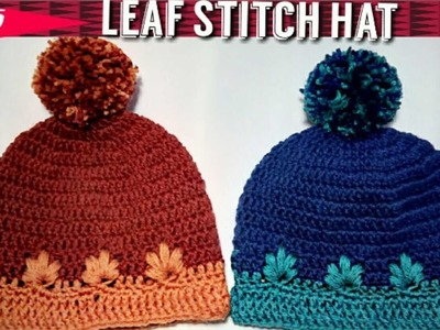 Crochet Leaf Stitch Hat : Step by step crochet hat tutorial