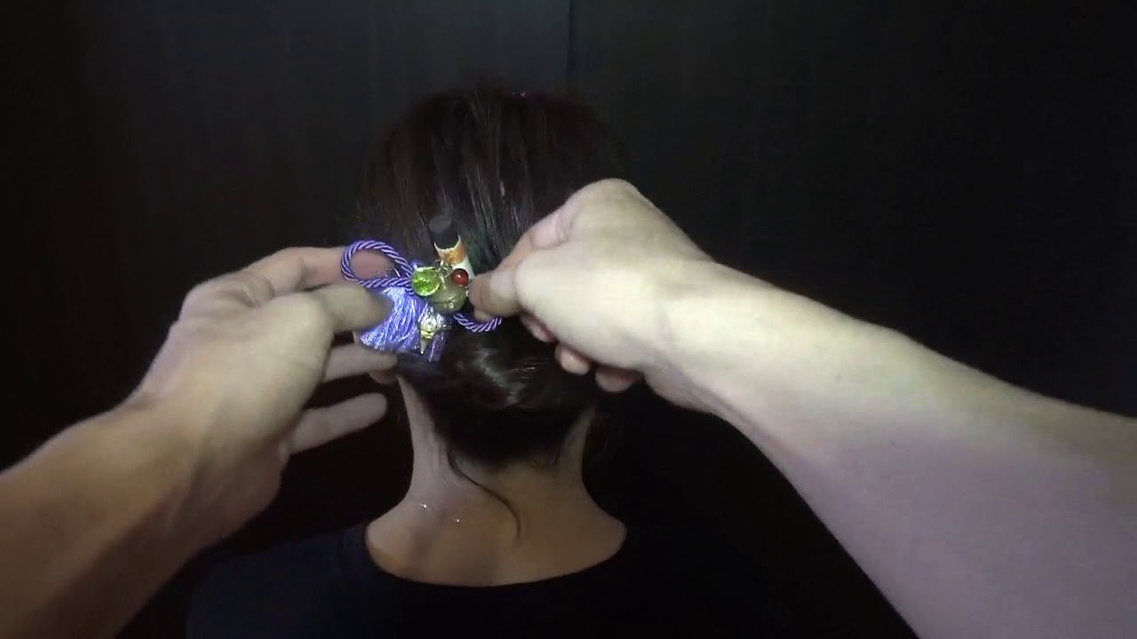 How to use a hair stick? - easy kanzashi style.かんざし挿し方