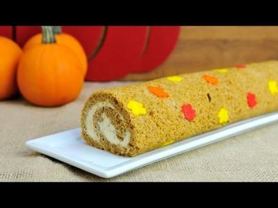 PUMPKIN  LEAF CAKE ROLL WITH MAPLE WALNUT CREAM CHEESE, HANIELA'S