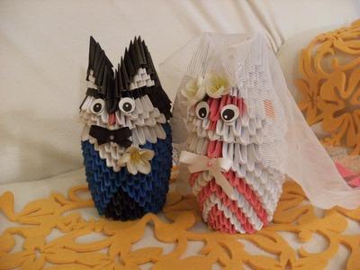 3D origami - BRIDE - Panna Mloda - owl wedding - how to make instruction