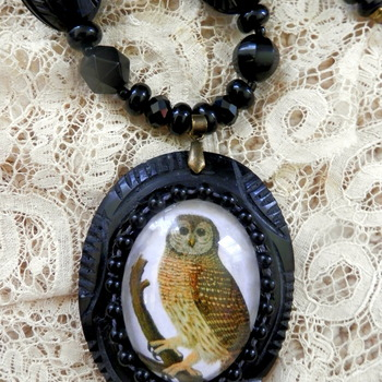 Black resin necklace  Owl