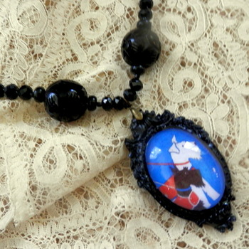 Black resin necklace, Scotty dogs
