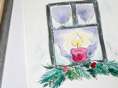 Candle in the Window Christmas Watercolor Painting Tutorial