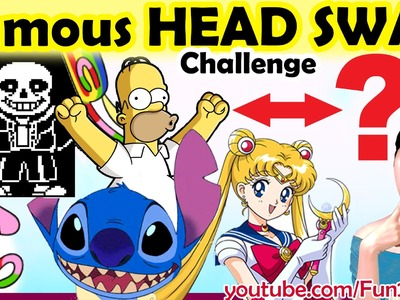 Challenge Fun Art Video: Drawing Famous Characters HEAD SWAP | Mei Yu