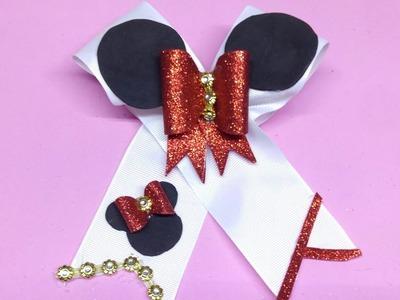 Clase En Vivo!!!!!!.Moño minnie mouse. cheer bow