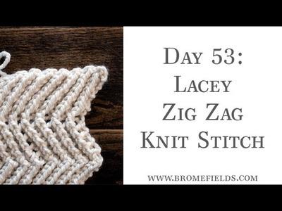Day 53 : Lacey Zig Zag Knit Stitch : #100daysofknitstitches