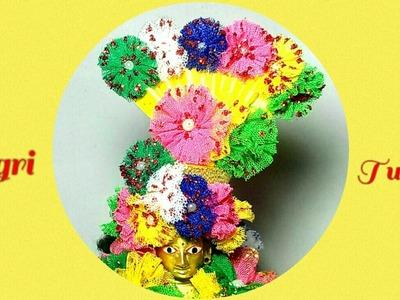 Designer Multicolour Flowers Pagri.Pagdi.Pag.Turban.Cap for Thakur ji.Ganpati Bappa.Maiya.Yugal jodi