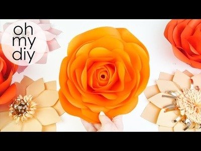 Diy Rose Tutorial (Large Size Paper Rose) How to make realistic and easy paper roses