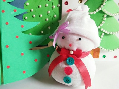 DIY Snowman.Christmas Craft Ideas for Kids.Making Easy Socks Snowman.Christmas decoration ideas