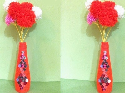 Empty bottle flower vase making with woolen pom pom. Wine bottle decoration Ideas. DIY craft